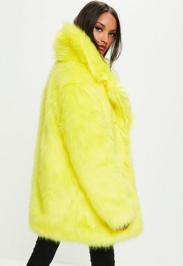 Yellow Faux Fur Coat With Collar Missguided Australia
