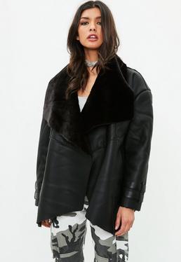 Premium Black Waterfall Shearling Jacket