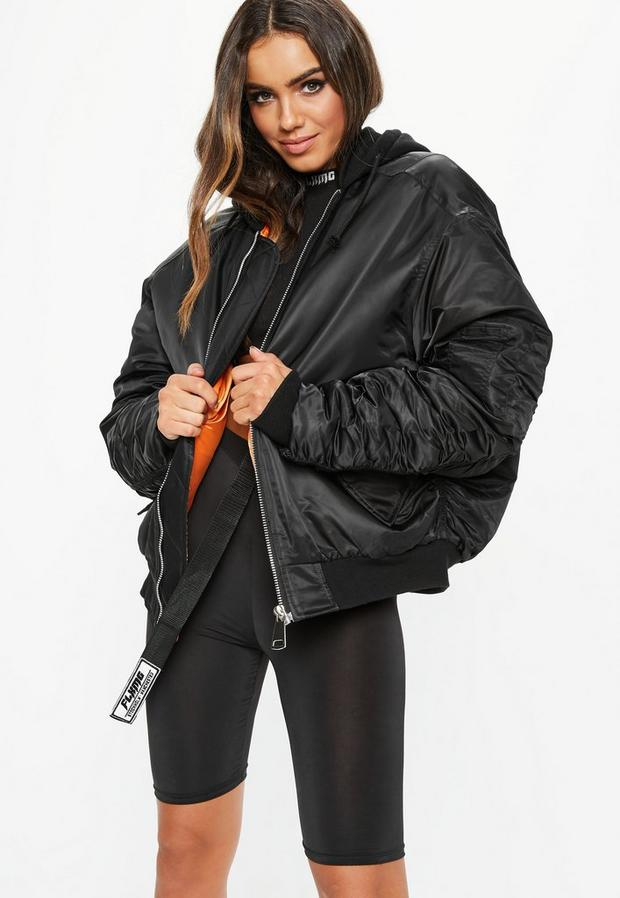 Women's Fanny Lyckman X Missguided Black Jersey Hooded Ruched Sleeve Bomber Jacket