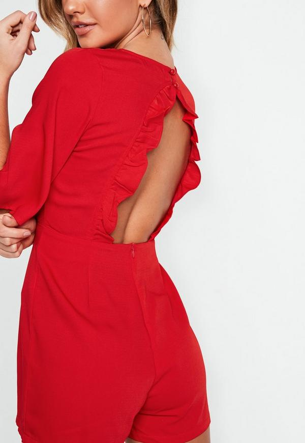 61d3a8455a Red Frill Back Wrap Playsuit. Previous Next