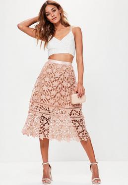 Premium Pink Crochet Midi Skirt