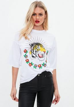 White Oversized Tiger Graphic T Shirt