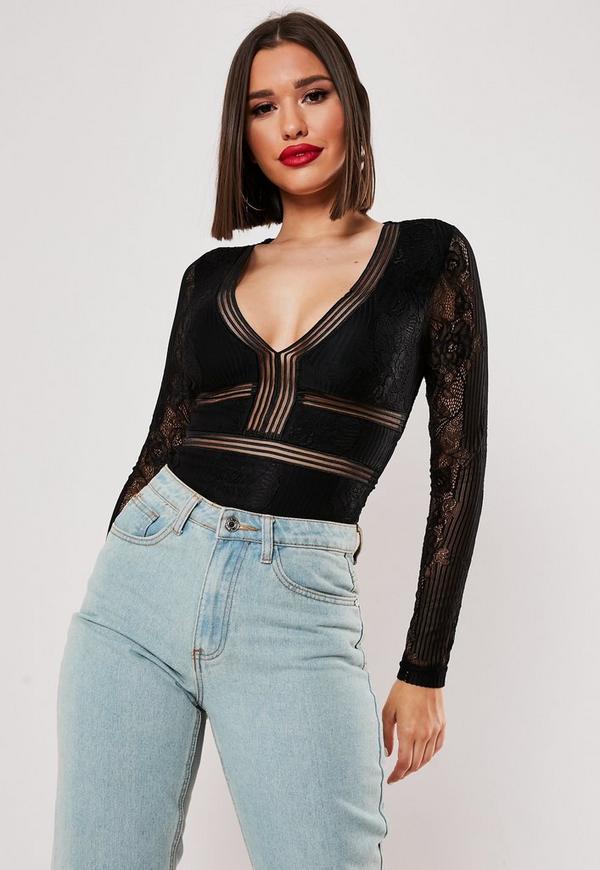 Black Sports Tape Long Sleeve Backless Lace Bodysuit ...