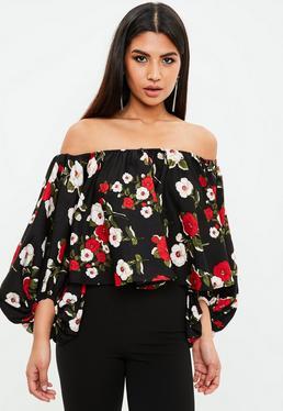Blusa con manga globo de flores en negro