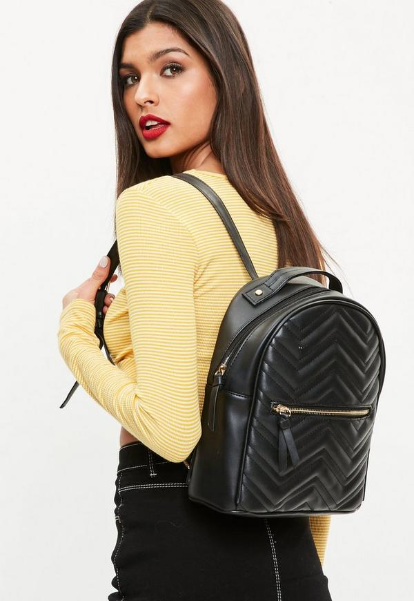 Black Quilted Rounded Backpack by Missguided