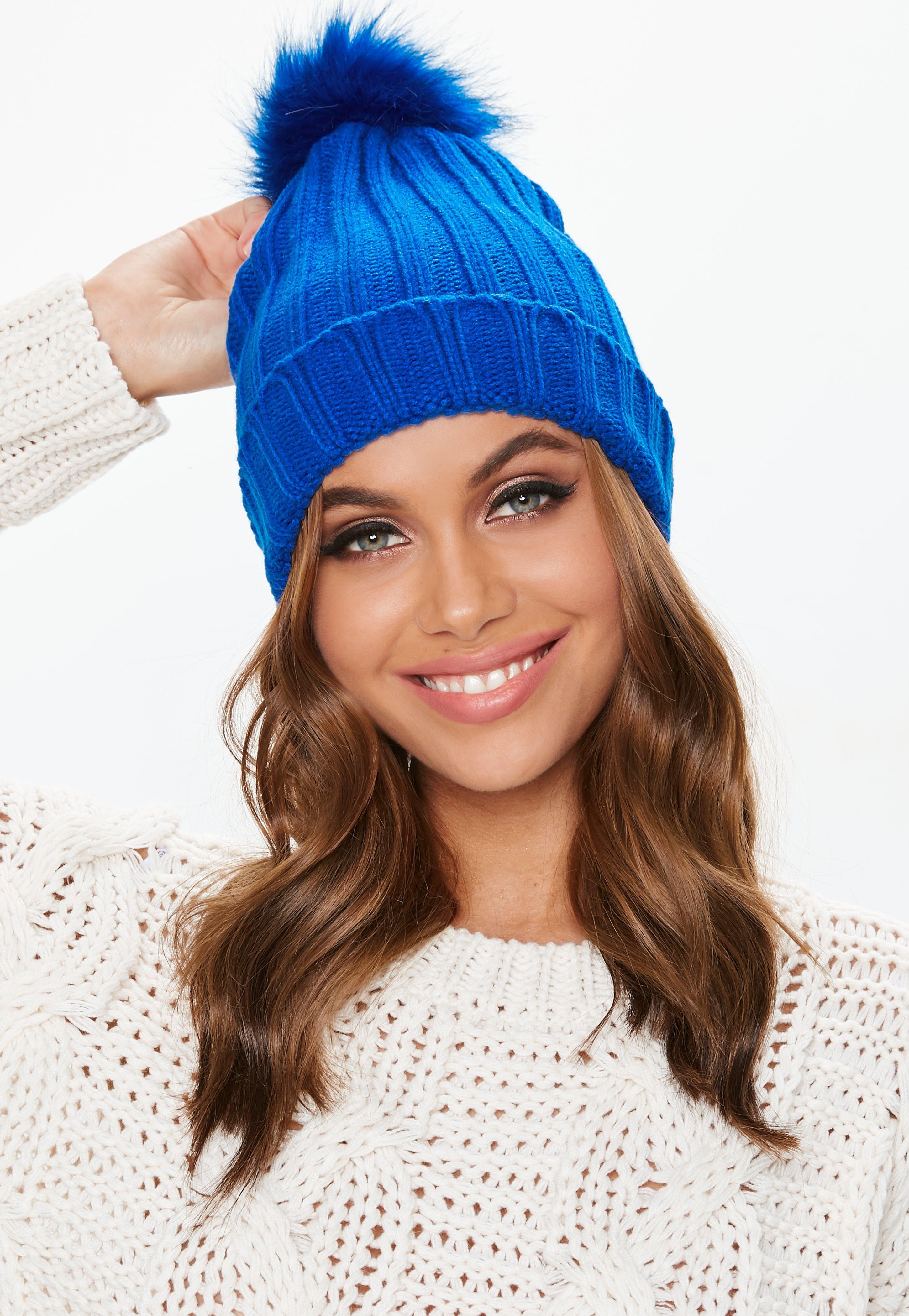 5c6975ec939 Blue Faux Fur Pom Pom Beanie