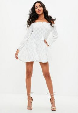 White Bardot Leaf Crinkled Layered Dress