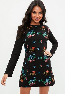 Black Applique Floral Dress