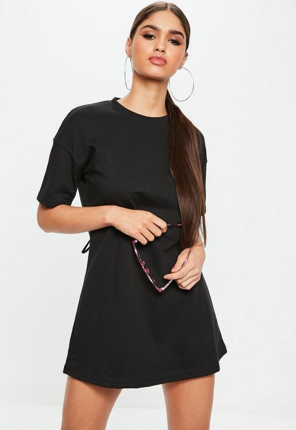 robe t shirt oversize noir lacets missguided. Black Bedroom Furniture Sets. Home Design Ideas