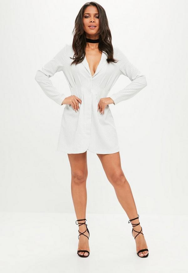 robe blazer blanche rayures missguided. Black Bedroom Furniture Sets. Home Design Ideas