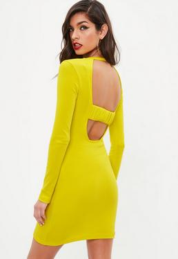 Yellow Ribbed Long Sleeve Dress