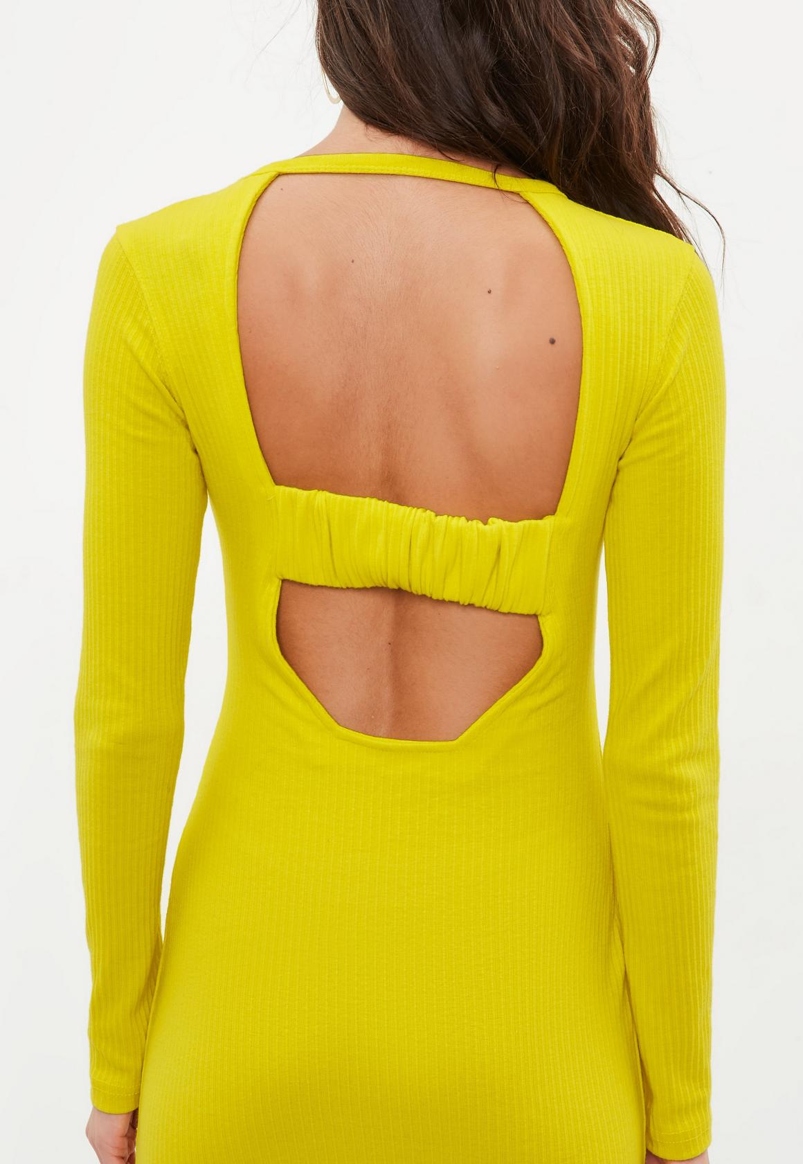2b79ff7235 Missguided - Yellow Ribbed Long Sleeve Dress