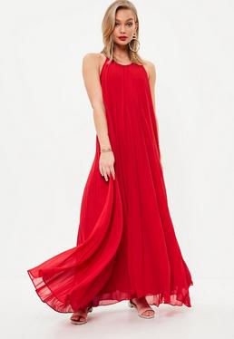 Red Pleated Maxi Sundress