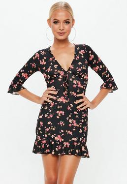 Black Floral Print Frill Tea Dress