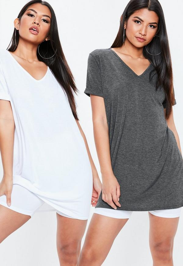 Grey And White 2 Pack V Neck T Shirt Dress by Missguided