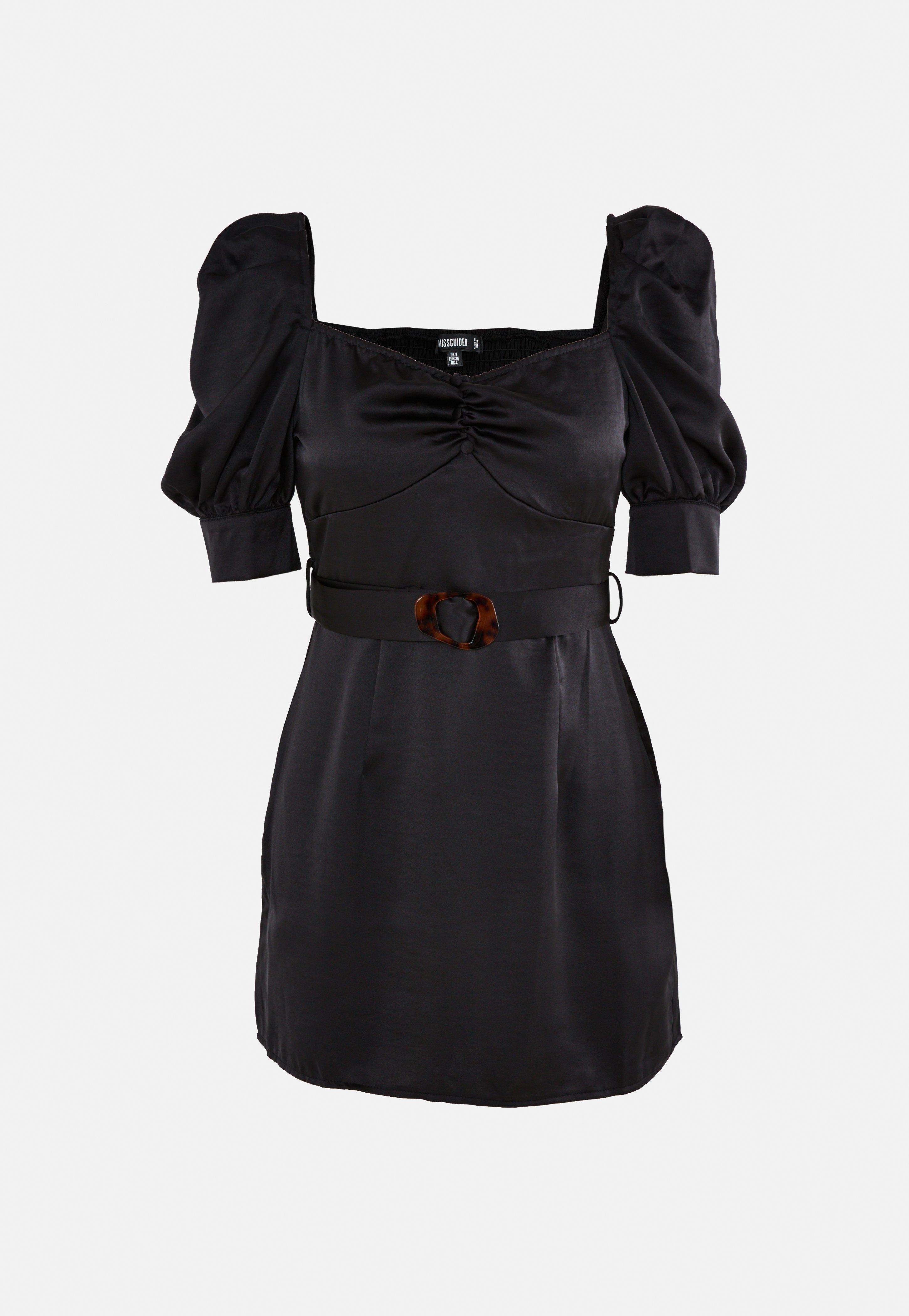 kurzes satin-kleid mit eckigem ausschnitt, puffärmeln und gürtel in schwarz