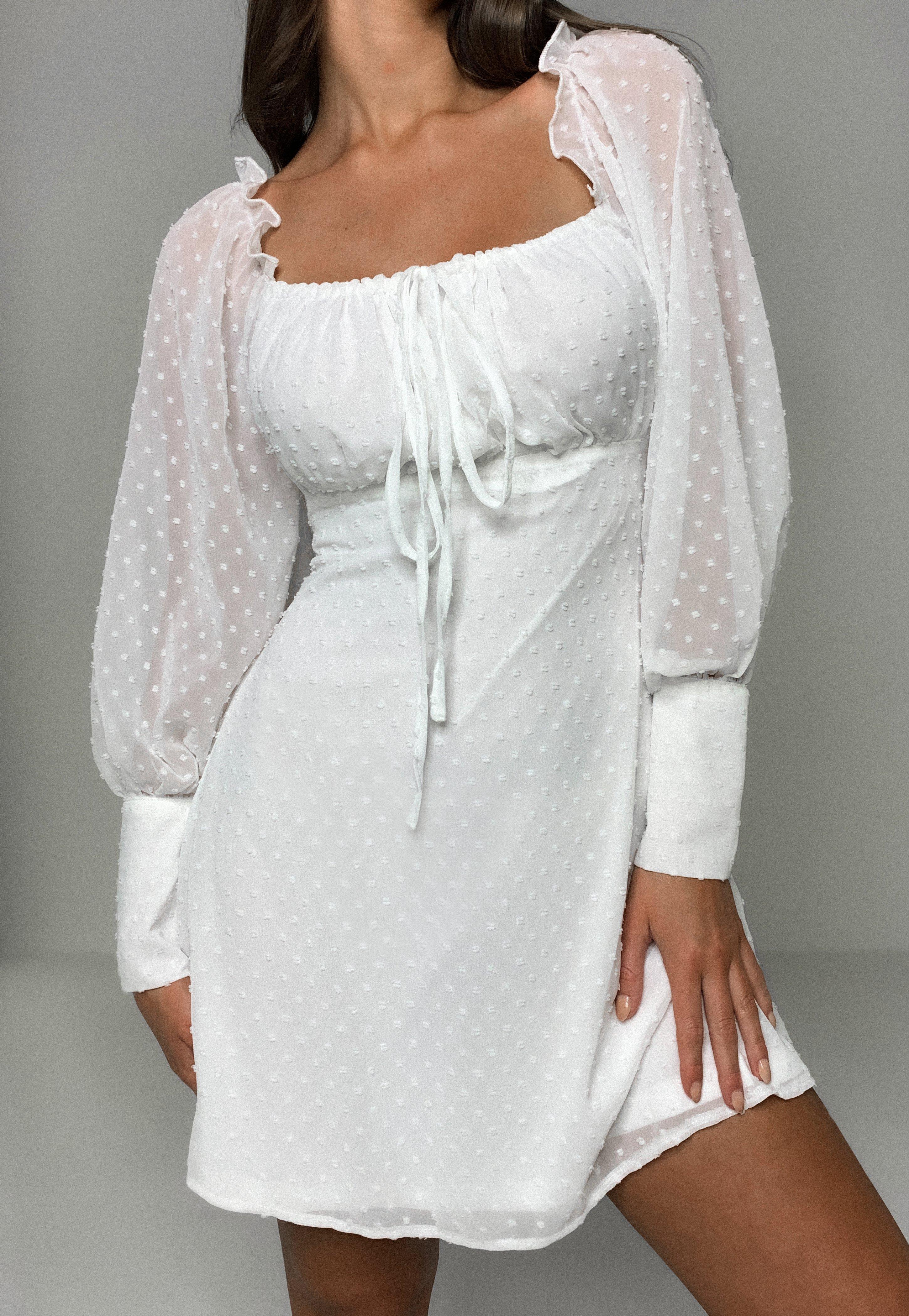 langärmeliges dobby-kleid mit eckigem ausschnitt in weiß