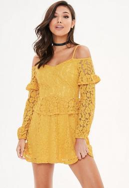 Yellow Cold Shoulder V Neck Lace Dress