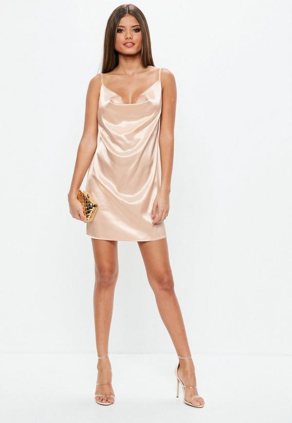 Champagne Satin Cowl Neck Dress Missguided