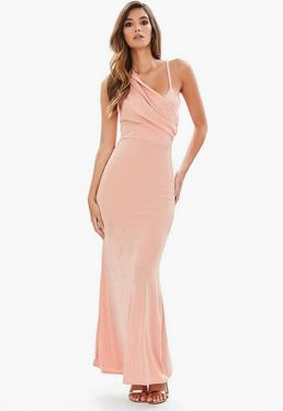 Pink Front Body Con Dress Dusky