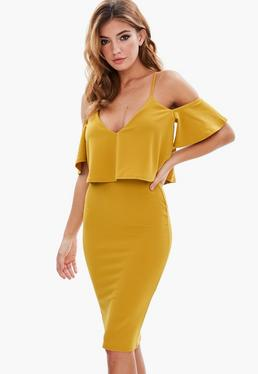 Yellow Stappy Crepe Cold Shoulder Midi Dress