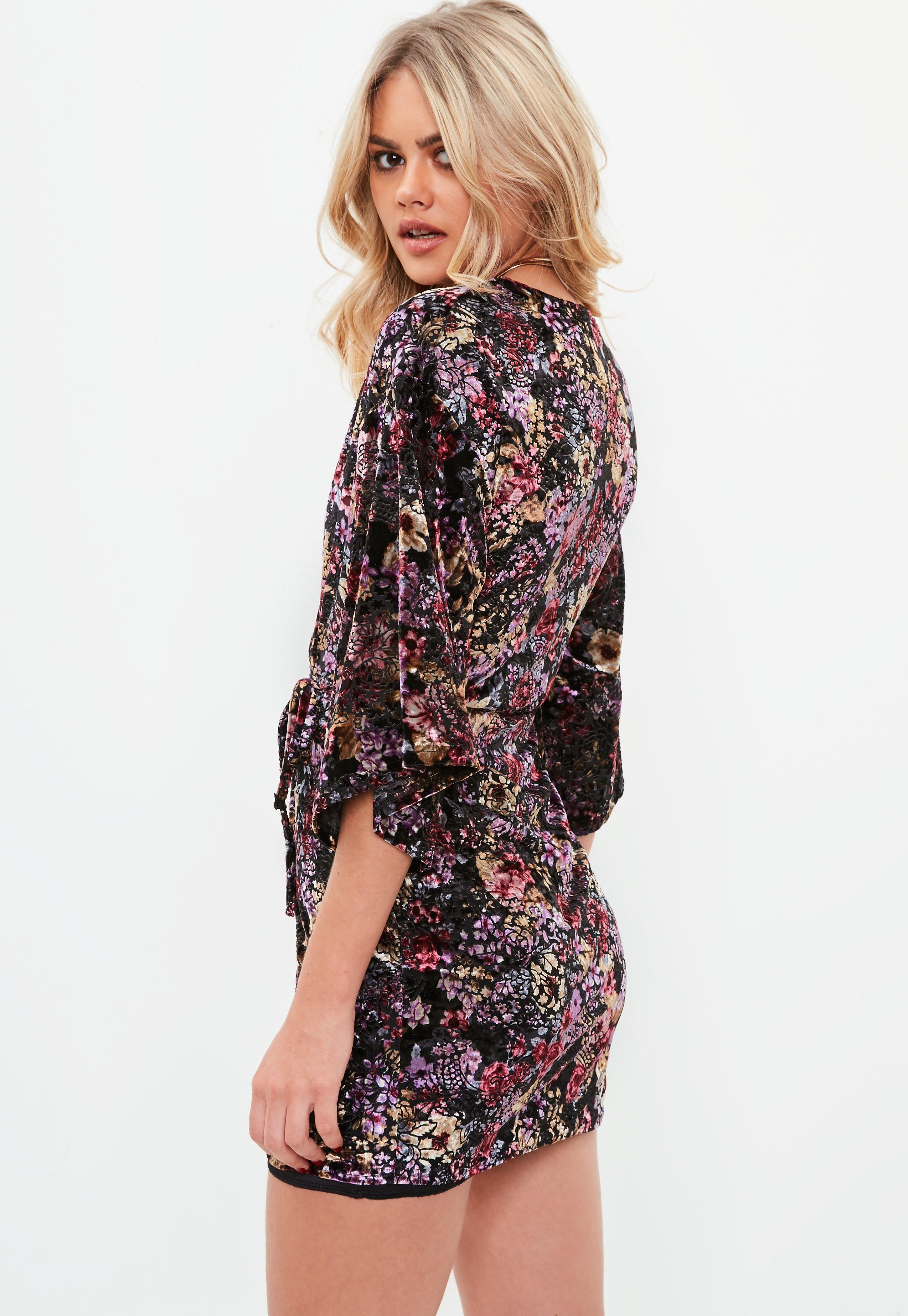 Missguided Velour Floral Print Mini Dress Order Cheap Sale Popular Sale High Quality Wear Resistance ggJXe