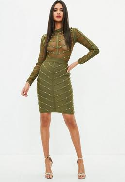 Khaki Gold Stud Bandage Dress