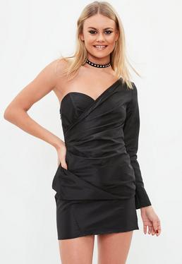 Black One Shoulder Ruched Side Shift Dress