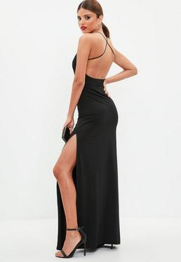 Black Lace Midi Fishtail Bottom Dress