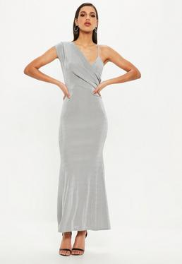 Gray Slinky One Shoulder Wrap Front Maxi Dress