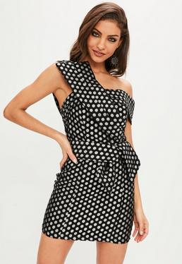 Black Polka Dot Cross Front Mini Dress