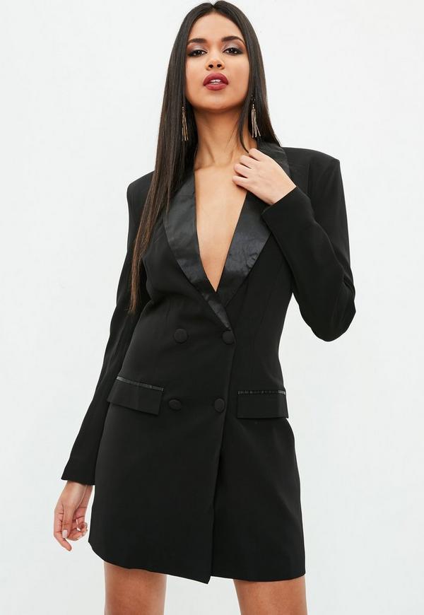 black blazer tux dress missguided