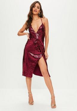 Red Sequin Wrap Hem Midi Dress