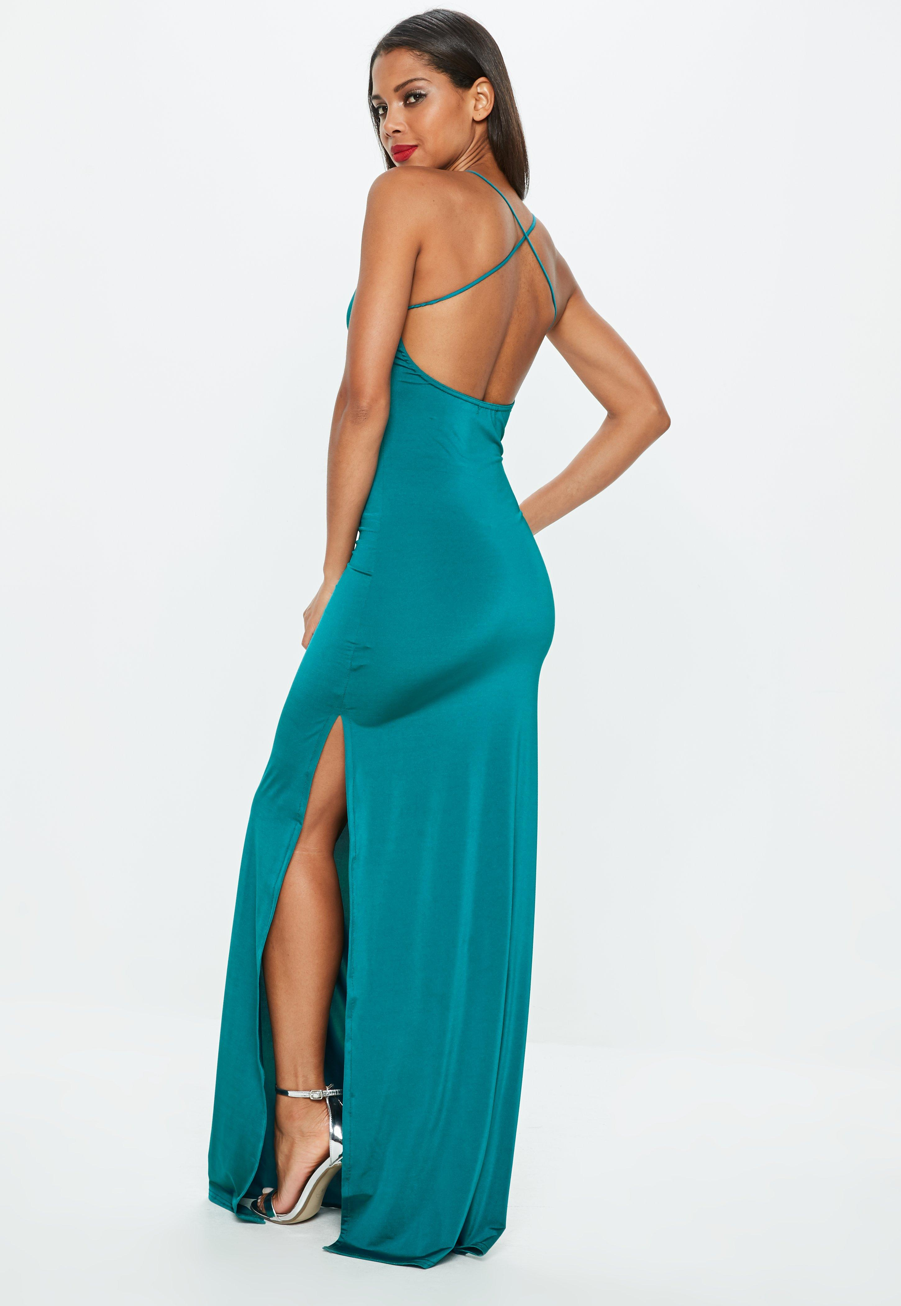 Teal Slinky Maxi Dress | Missguided