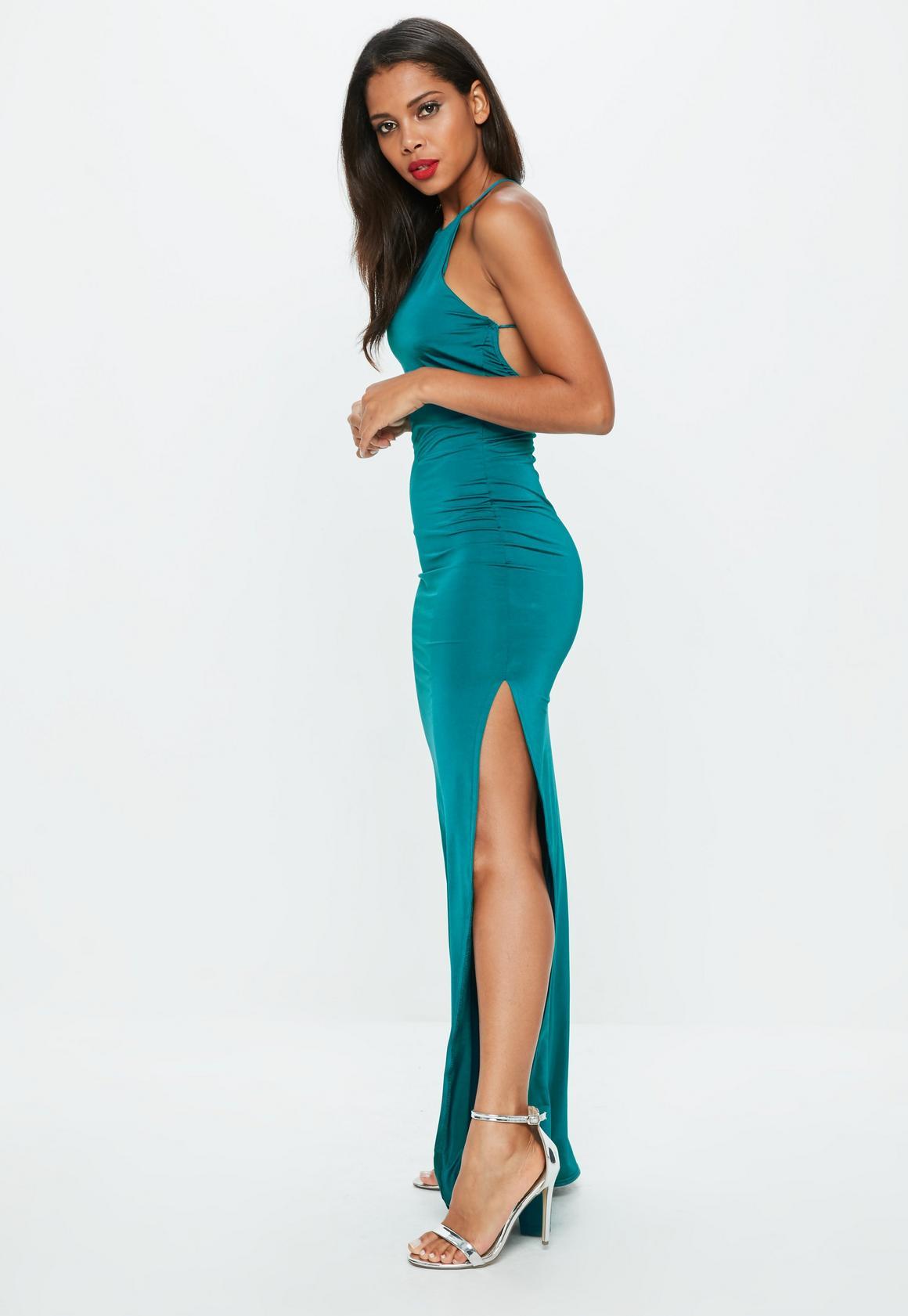 d0763bd1da Missguided Teal Slinky Maxi Dress, Blue at £30 | love the brands