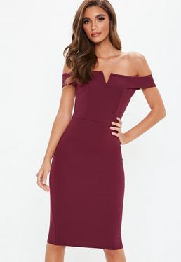 Purple V Front Bardot Midi Dress