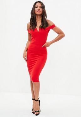 Red V Front Bardot Midi Dress