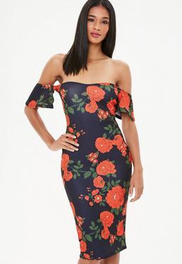 Navy Floral Bardot Bodycon Mini Dress
