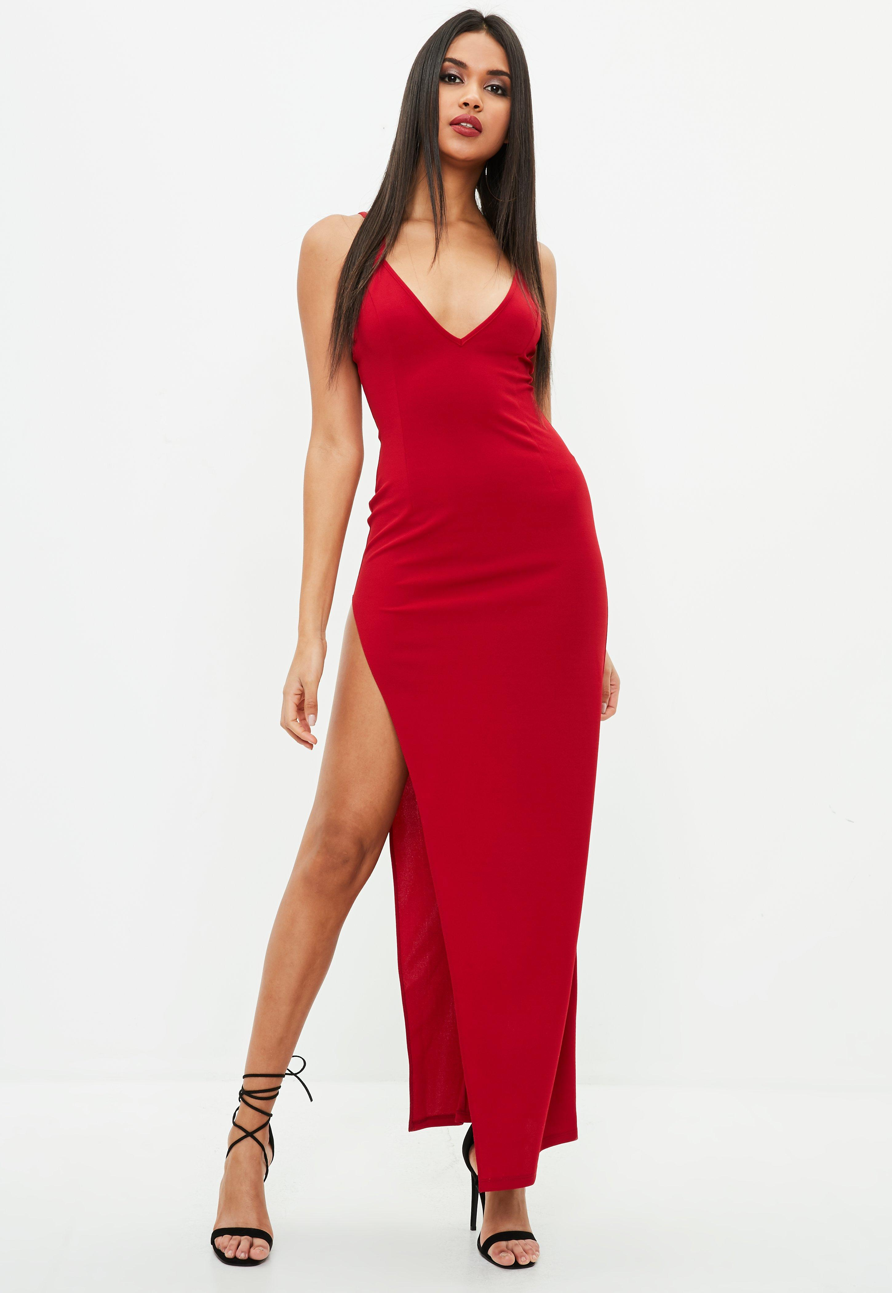 red stretch multi strap plunge split maxi dress missguided