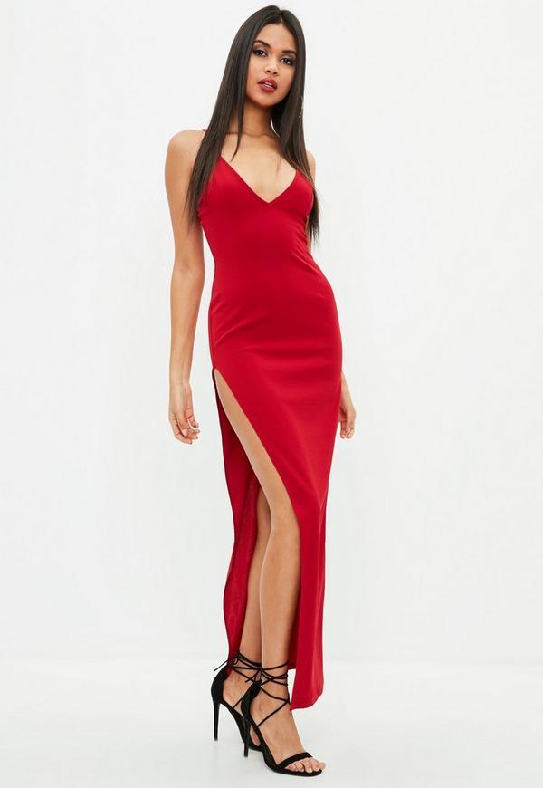 Rotes maxikleid mit langem schlitz missguided for Rotes kleid mit schlitz