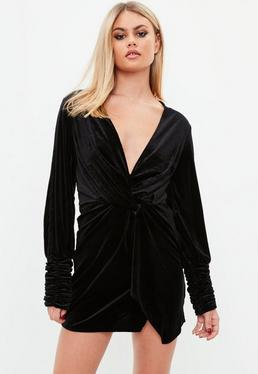 Black Velvet Wrap Front Dress