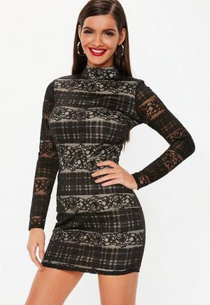 d706e0c3e731 Petite Black Long Sleeve Lace Overlay Mini Dress   Missguided