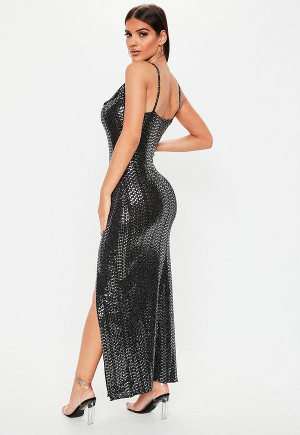 Black Sequin Cowl Neck Side Split Dress Missguided