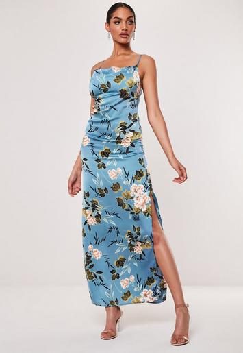 Blue Floral Satin Cowl Neck Side Split Maxi Dress by Missguided