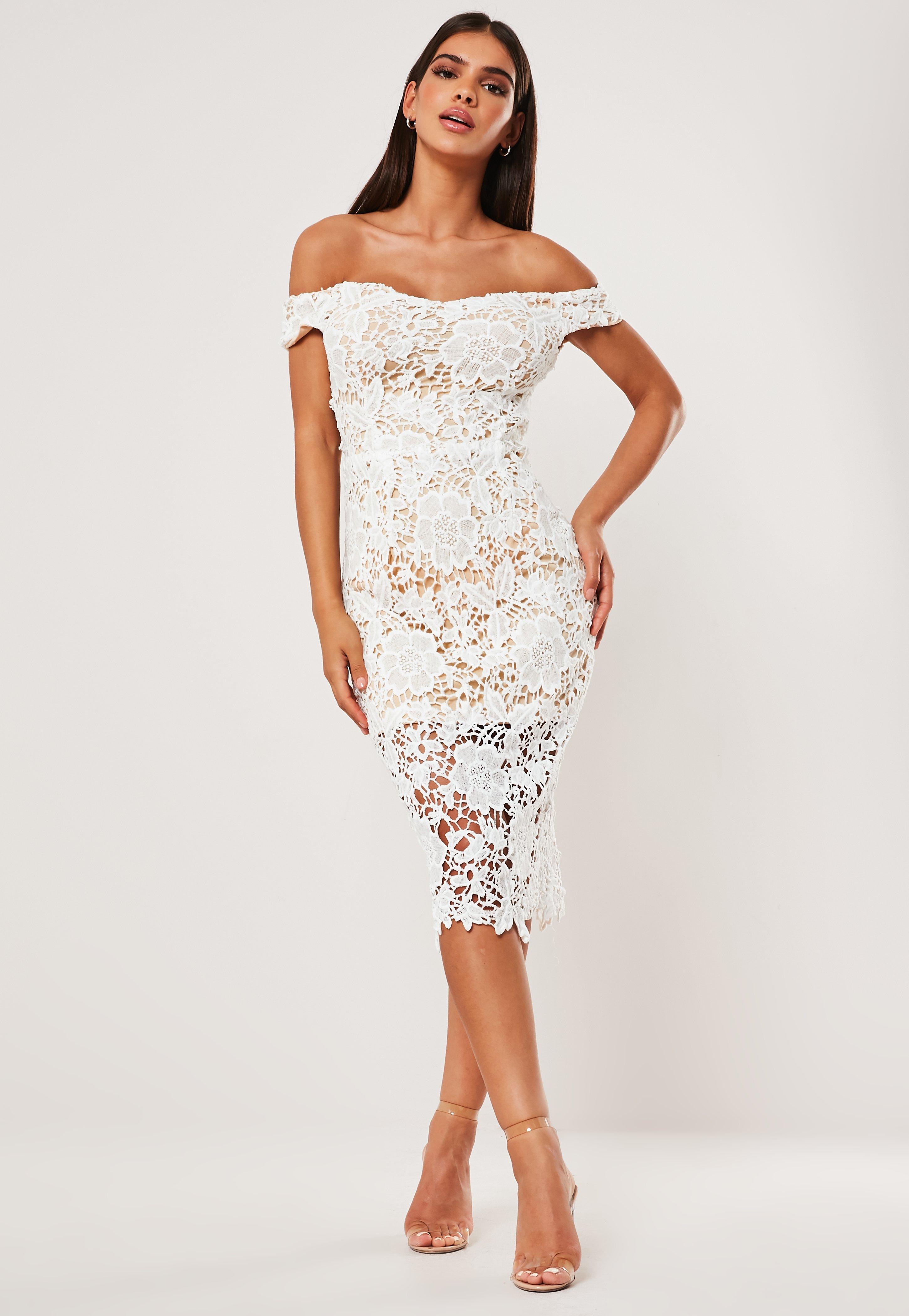 Vestido Midi Bardot Con Encaje En Blanco