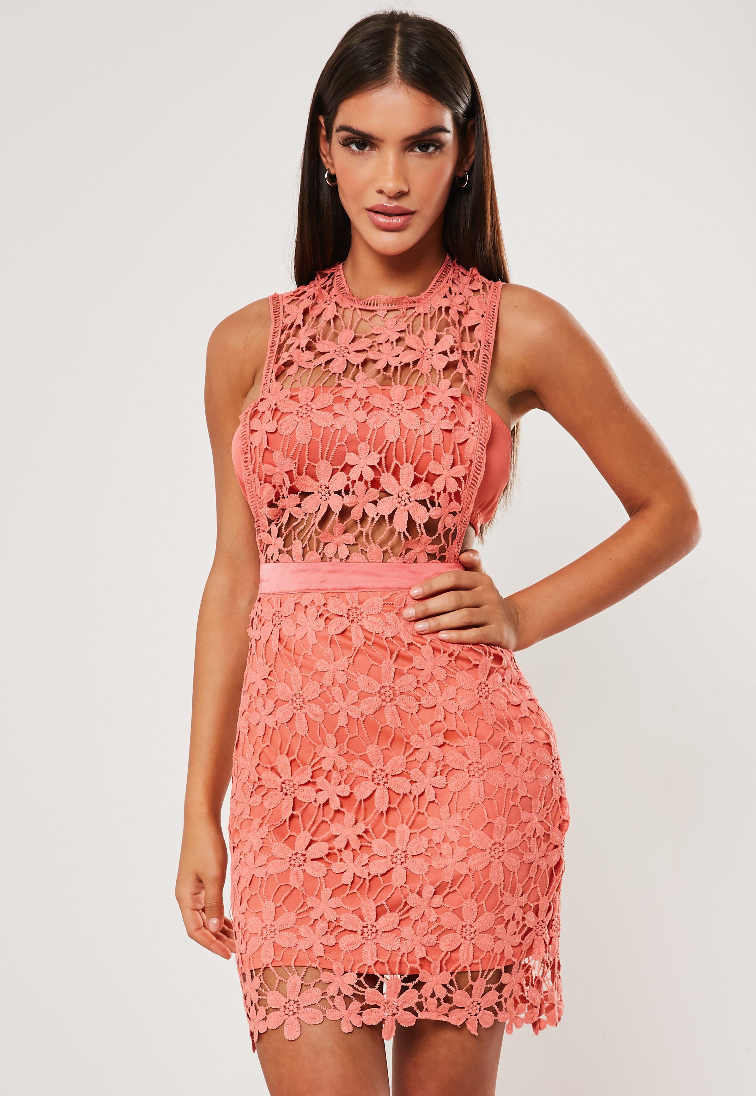 27684b2bb021a Coral Daisy Lace Sheer Insert Mini Dress