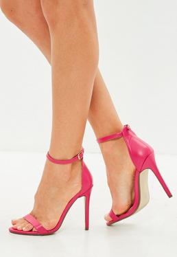 Pink Flat Strap Barely There Heels
