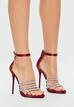 Burgundy Embellished Sandals