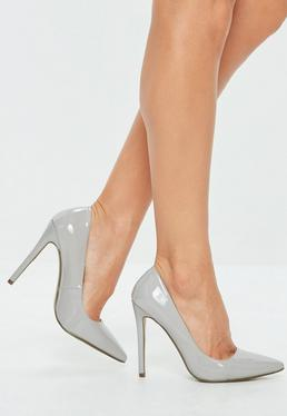 Grey Patent Pointed Toe Court Shoes