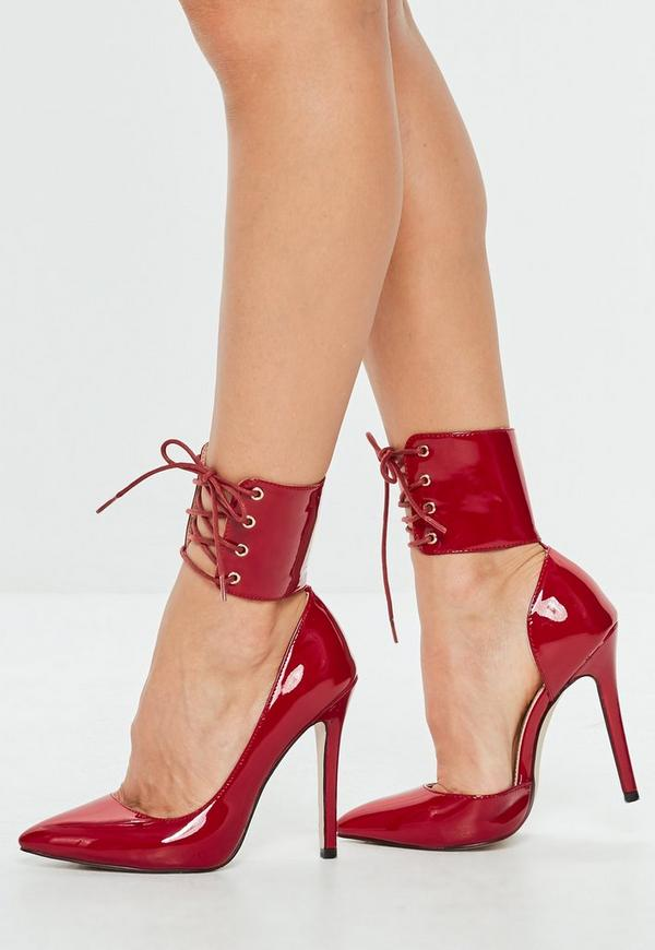 Red Lace Up Ankle Cuff Pointed Heel | Missguided Ireland